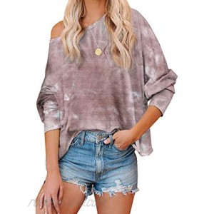 MOPOOGOSS Women's Fashion Cute Long Sleeve Crop Top Dye Ombre Printed Tie Tunic Top Shirts Casual Cozy Hoodies Pullover Blouse Brown XL