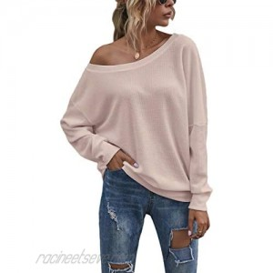 QUNNDY Womens Long Sleeve Top Loose Blouse Waffle Knit Oversized Casual Shirts Pullover Sweaters