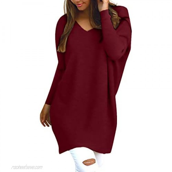 StyleDome Women's Tops Long Sleeve Blouse Sexy V Neck Casual Loose Solid Pullover Shirt Wine Red XL