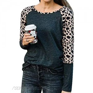 Womens Tops Leopard Print T Shirts Long Sleeve Tunic Blouse Causal Cute Sweet Spring Tee