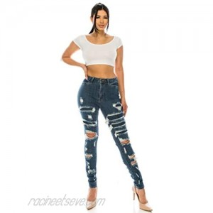Aphrodite High Waisted Jeans for Women - High Rise Skinny Womens Hand Sanding Distressed Ripped Repaired Patched Jeans 4672 Medium Blue 15