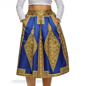 940 - Vintage High Waist Floral African Ethics Printed Skater A-Lined Midi Plus Size Skirt