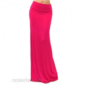 GotStyle Vivicastle Women's USA Spand Long Solid Rayon Foldover Maxi Skirt