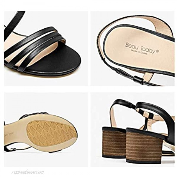 Beau Today Women's Leather Heeled Sandals Wedge Party Dress Sandals Handmade Brown US 7.5