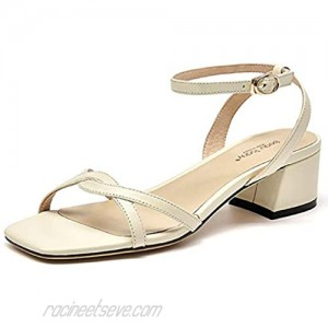 Beau Today Women's Medium Heel Sandals Leather Ankle Strap Wedding Party Evneing Bridesmade Sandals Beige US 7.5