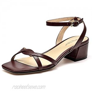 Beau Today Women's Medium Heel Sandals Leather Ankle Strap Wedding Party Evneing Bridesmade Sandals Wine US 7