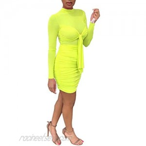 Adogirl Women's Sexy Long Sleeve Midi Dresses Cocktail Party Club Bodycon Dress