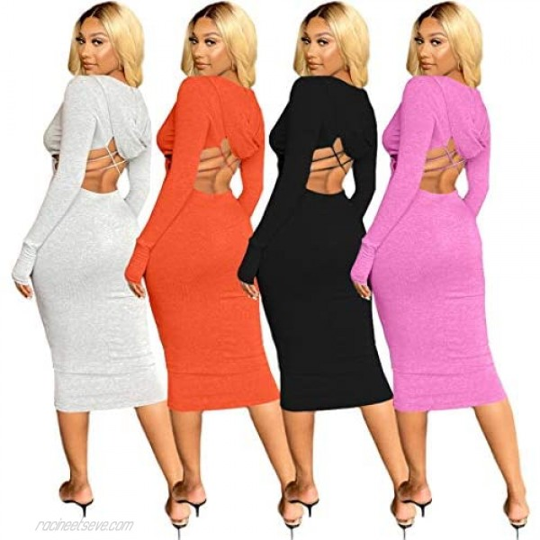 MyDearie Women's Club & Night Out Dresses - Sexy Ribbed Knit Backless Long Sleeve Zipper Slim Sweater Dress Clubwear Cocktail
