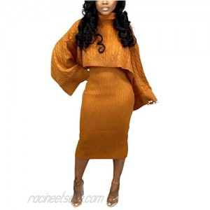 Women's Rib knit Sweater 2 Piece Outifts Long Sleeve Turtleneck Sweaters and Tank Midi Dresses