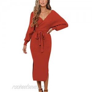 ZHPUAT Women's Sweater Dress Sexy V-Neck Long Batwing Sleeves Backless Wrap Cocktail Bodycon Dress with Belt