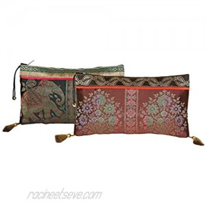 Antique Handmade Silk Clutch Wristlet Indian Made Purse Organza Bag with Ethnic design Wedding Gift Pouch (Set of two)