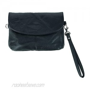 Cal-Wyn Women's Leather Wristlet Clutch with Removable Crossbody Strap