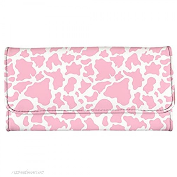 Jeiento Pink Leopard Leather Wallets for Women Purse Travel Business Handbag Girls Party Clutch Bag Phone Holder Money Clips