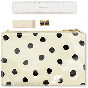 Kate Spade New York Black/White Pencil Pouch with Ruler Eraser & Sharpener Leatherette Travel Zipper Pouch/Clutch Spotty Dot