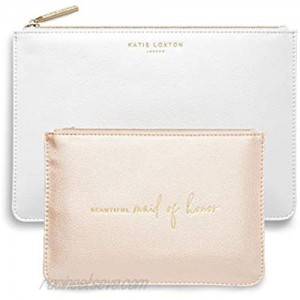 Katie Loxton Beautiful Maid Of Honor Women's Vegan Leather Clutch Bridal Perfect Pouch Boxed Set of 2 Metallic Gold