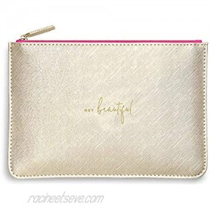 Katie Loxton Color Pop Hey Beautiful Women's Medium Vegan Leather Clutch Perfect Pouch Gold