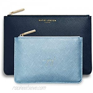 Katie Loxton Happy Birthday Women's Vegan Leather Clutch Perfect Pouch Boxed Set of 2 Navy Blue