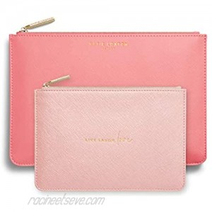 Katie Loxton Live Laugh Love Women's Vegan Leather Clutch Perfect Pouch Boxed Set of 2 Oyster Pink