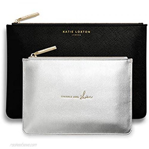 Katie Loxton Sparkle And Shine Women's Vegan Leather Clutch Perfect Pouch Boxed Set of 2 Charcoal