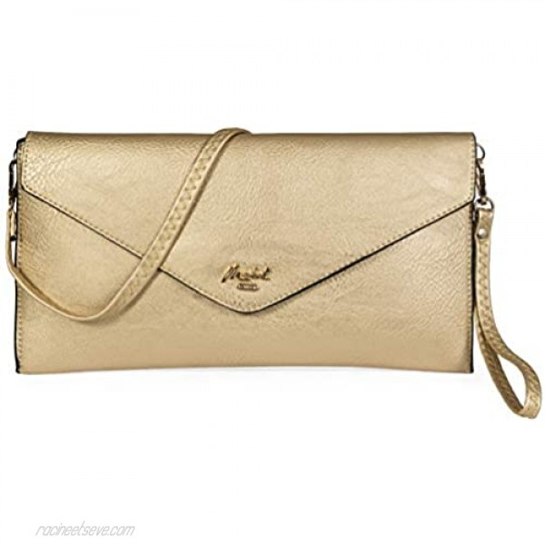 Mabel Women's Wristlets Clutch Bag - Envelope Purse - Faux Leather with Fabric Lining - Idea Prom Bag - PIPER