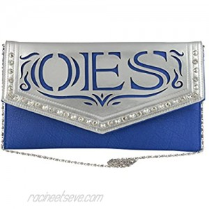 Order of the Eastern Star Faux Leather Envelope Clutch with Detachable Chain Shoulder Strap Blue 13x7 inches