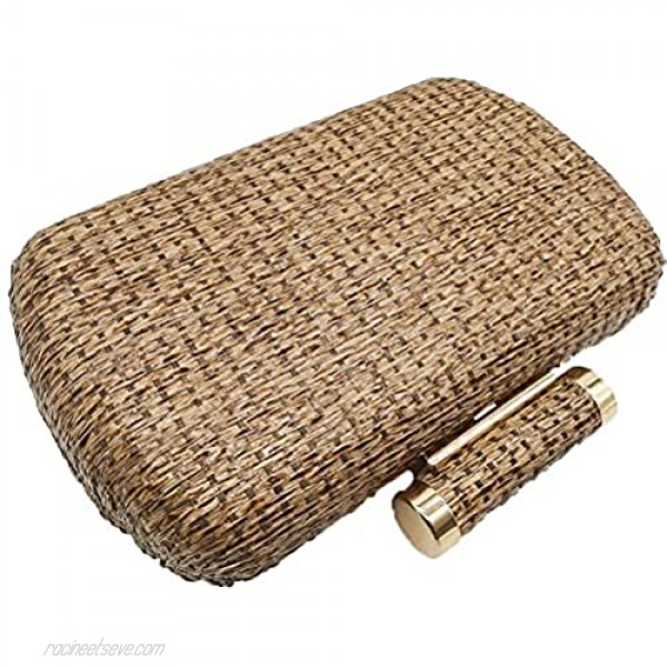 Casual Straw Clutch Purses for Women Chain Shoulder & Crossbody Bag Metal Evening Clutches