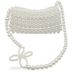 Grandxii Women Beaded Pearl Evening Bucket Handmade Bags with Detachable Chain for Wedding Party