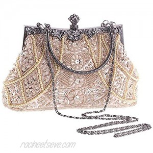 KISSCHIC Clutch Purses for Women Vintage Beaded Clutches Purses Evening Handbags for Wedding Party