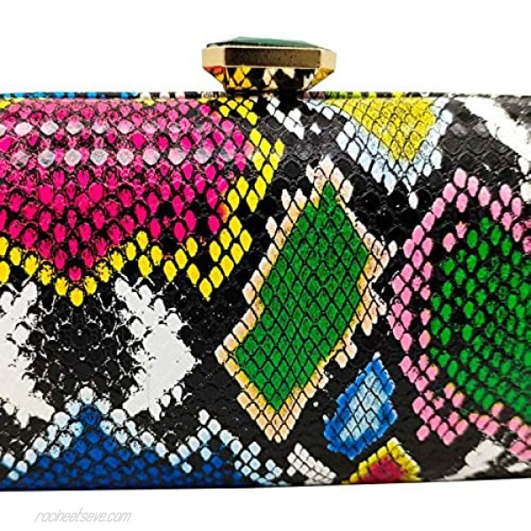 Snake Skin Python Pattern Women Clutches Evening Bags Party Purses Cocktail Dinner Handbags
