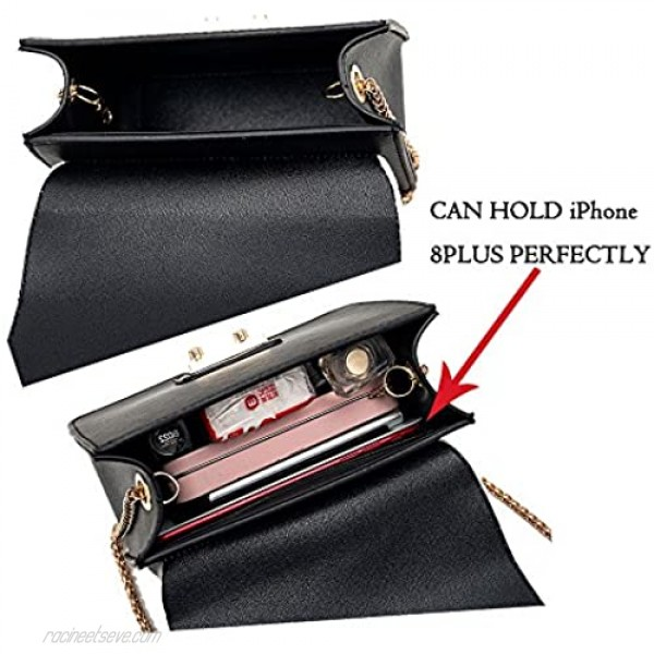 TOTZY Evening Bag for Women Girls Small Purse Fashion Crossbody Purse with Golden Chain Clutch