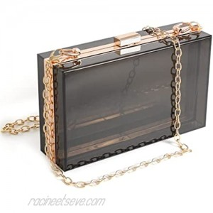 WJCD Women Clear Purse Acrylic Clear Clutch Bag Shoulder Handbag With Removable Gold Chain Strap