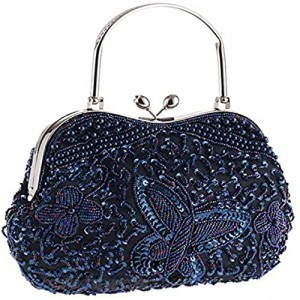 Womens Vintage Jewels Beaded Evening Clutch Bag Top-handle Prom Party Purse Formal Handbag