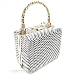 XX-Small clutch Metal beaded mesh evening box purse for Cocktail Party Prom Wedding Banquet