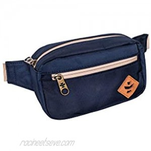 Revelry Companion Smell Proof Crossbody Bag Water Resistant with Adjustable Strap for Travel Sport Running - Carbon Filter System from Odor Protection Canvas Exterior Men & Women (Navy Blue)