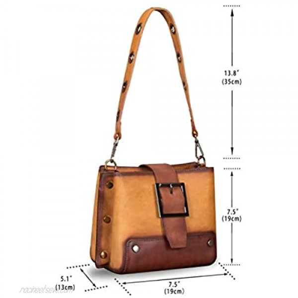 Genuine Leather Crossbody Bag for Women Vintage Shoulder Satchel with Convertible Double Straps