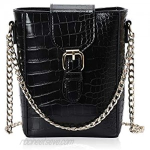 MICKORS Women Small Buckle Crossbody Bag with Chain Strap Cell Phone Pouch Mini Bucket Shoulder Purse