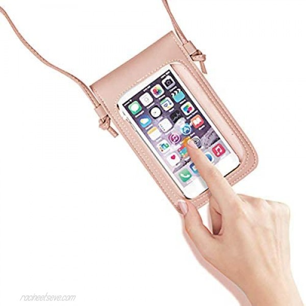 RARITYUS Multi-Layer Mini Crossbody Cell Phone Pouch Purse PU Leather Shoulder Bag with Touch Screen Window for Women Girls