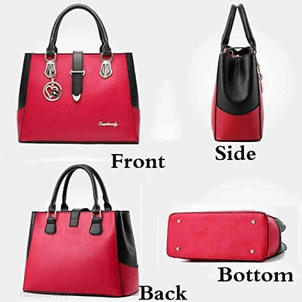 Rullar Women Handbag and Purse Stitching Shoulder Top-handle Bag Tote with Heart-shaped Pendant Burgundy