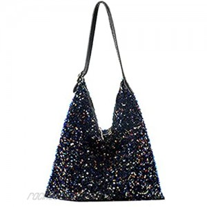 Women Glitter Sequin Shoulder Tote Bag Girls Large Capacity Shiny Shopping Bag Pouch