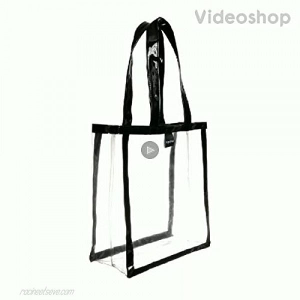 Women's Clear PVC Tote Bag Transparent Shoulder Fashion Waterproof Bag with Black Synthetic Patent Leather Straps and Frame