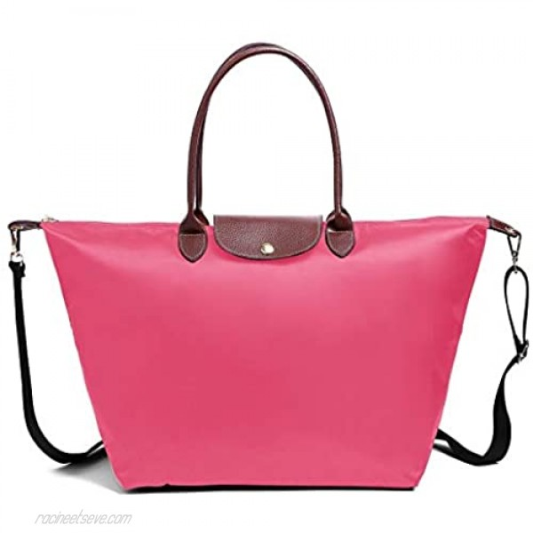 Women's Stylish Waterproof Tote Bag Nylon Travel Shoulder Beach Bags Work Bag fits up to 15.6 inch (Medium with Shoulder Strap Rose with Shoulder Strap)