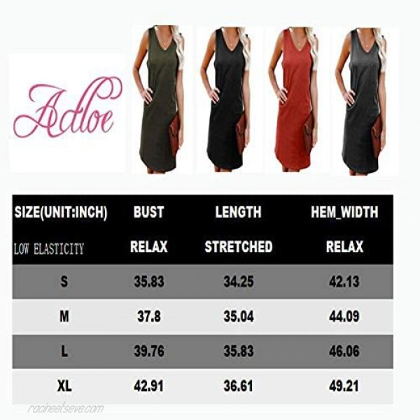 Actloe Womens Dresses Casual Summer Tank Dresses V Neck Solid Sleeveless Dress with Pocket