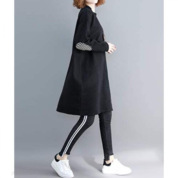 ellazhu Women Casual Baggy Pullover Dress with Black and White Striped Pocket GA1271 A