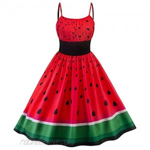 Flygo Womens Vintage Strappy Halter Watermelon Print Cocktail Party Casual Swing Dress