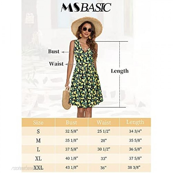 MSBASIC Womens Summer Dress Sleeveless Fuax Wrap A Line Casual Dresses with Pockets