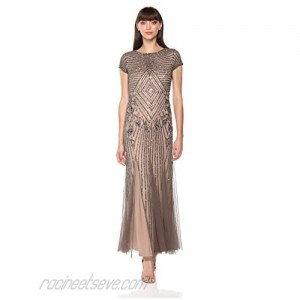 Adrianna Papell Women's Short Sleeve V Neckline Fully Beaded Gown with Godets