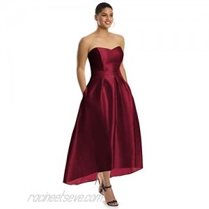 Alfred Sung Style D699S High-Low Sateen Pleated Skirt Formal Dress - Strapless Sweetheart Neckline