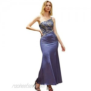 ANGEL FASHIONS Women One Strap Floral Beading Wrap Evening Gown