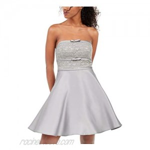 City Studio Womens Silver Lace Zippered Sleeveless Strapless Short Fit + Flare Party Dress Size 5