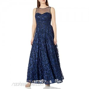 Ignite Women's Sleeveless Illusion Neck Embroidered Soutache A-line Gown